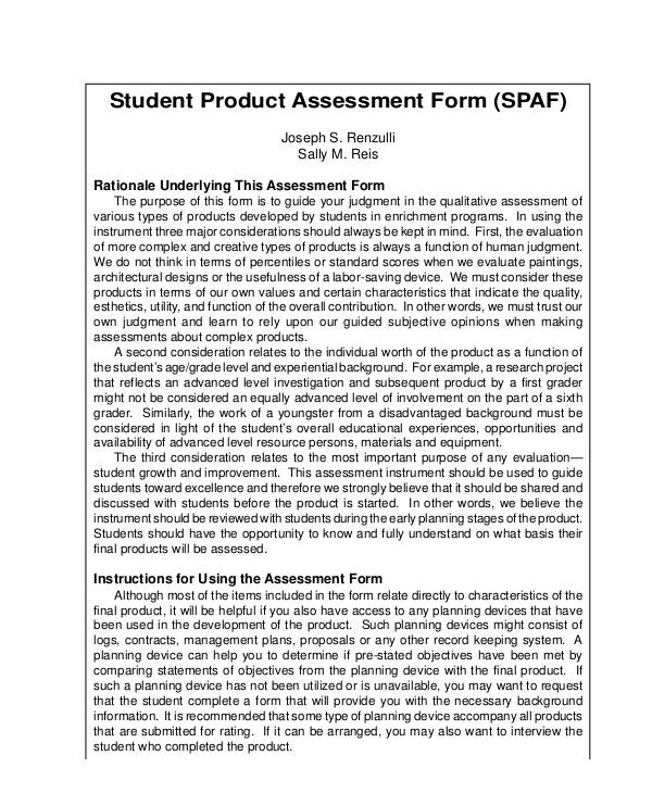 Student Product Assessment Form