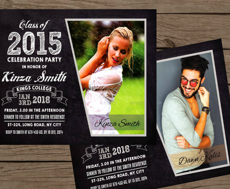 Stylish Chalkboard Graduation Party Announcement Card