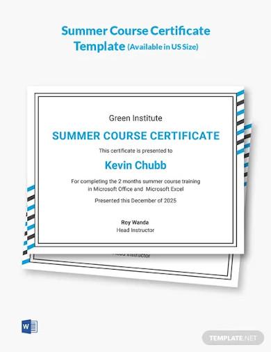 summer course certificate template