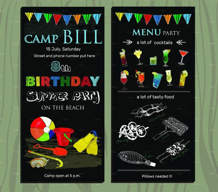 summer-themedchalkboard-birthday-invitation-with-menu-card-template