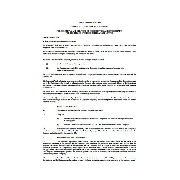 Supply and Delivery Agreement