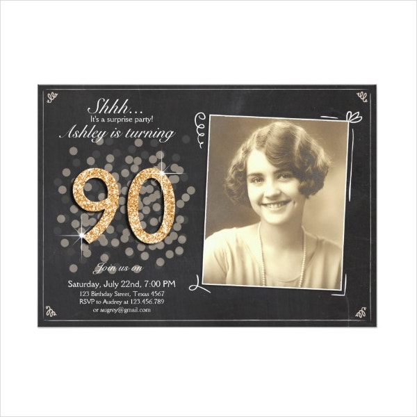 surprise chalkboard 90th birthday invitation