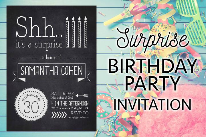 surprise chalkboard birthday party invitation template