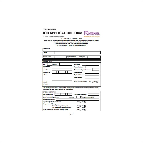 teacher application form