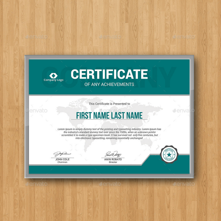 teal modern degree certificate template