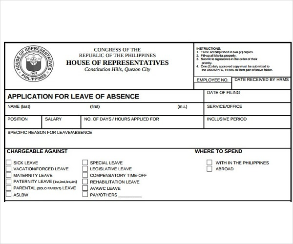 Template for Application for Leave of Absence