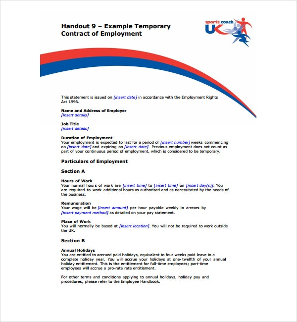 2+ Temporary Employment Contract Templates - PDF | Free & Premium ...