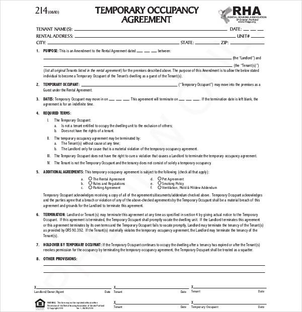 temporary occupancy agreement