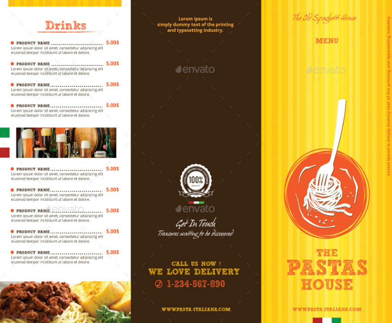 The Pasta House Trifold Menu Template