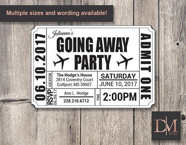 Ticket Going Away Party Flyer Template