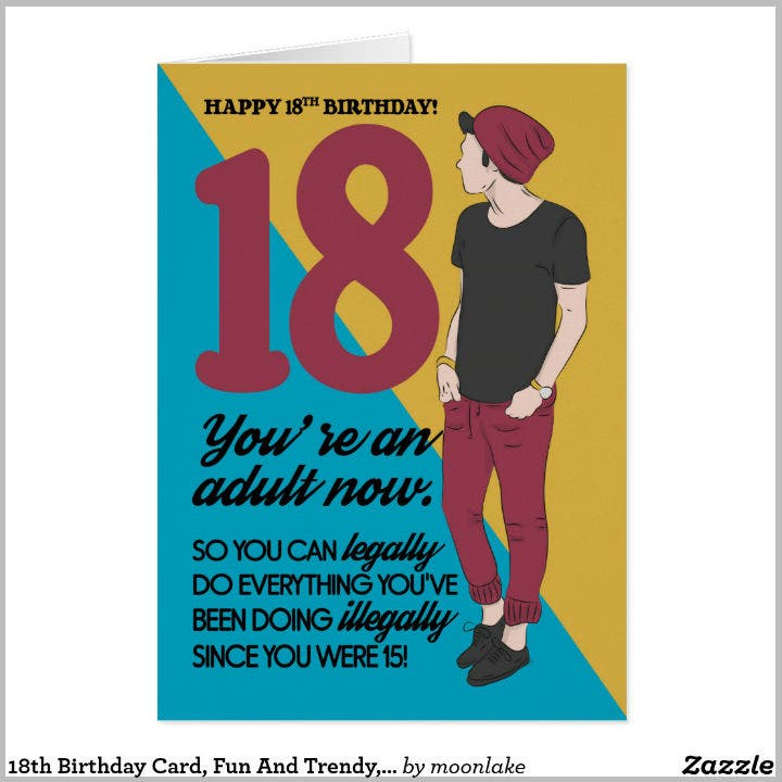 Trendy Guy 18th Birthday Card Design Template