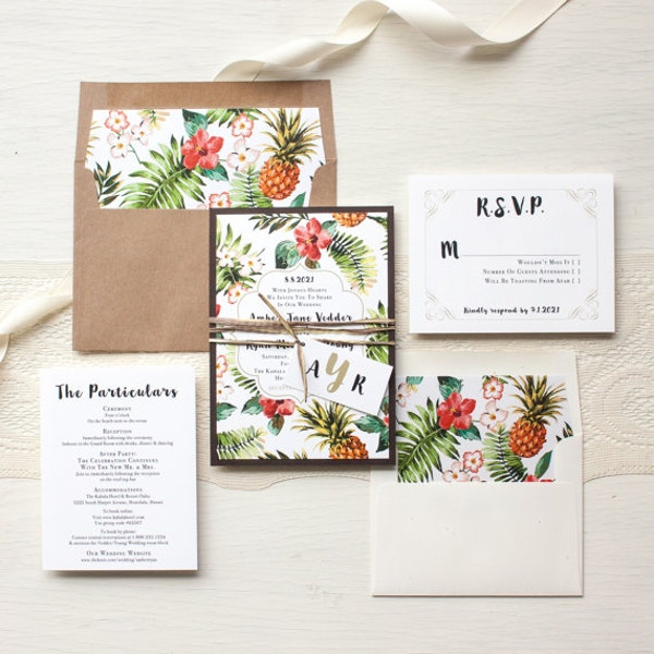 Tropical Wedding Paradise Invitation Template
