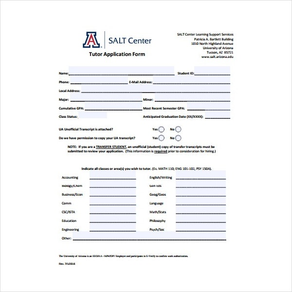 5  tutor application form templates