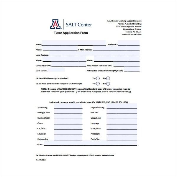 Tutor Application Form