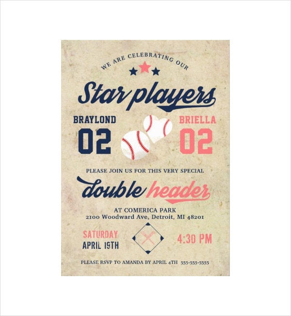 Twin Baseball Birthday Invitation
