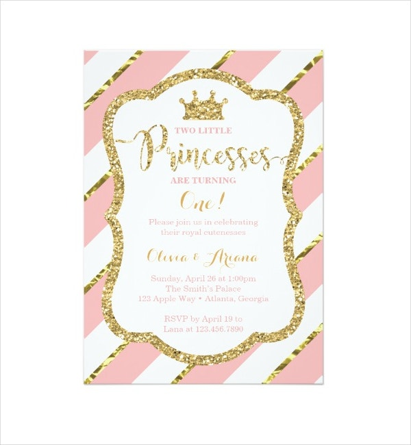 Twin Princesses Birthday Invitation