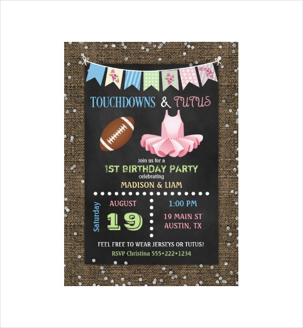 Twins Birthday Invitation Card