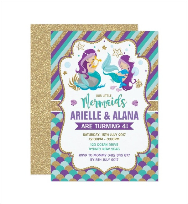 Twins Mermaid Birthday Invitation