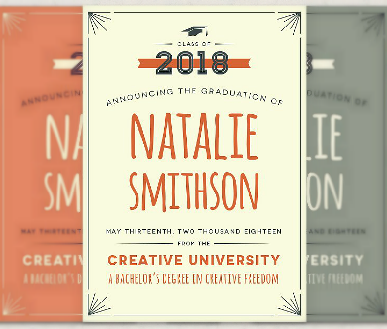 Typographic Theme Graduation Announcement Template