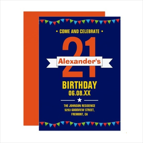Typography 21st Birthday Party Card