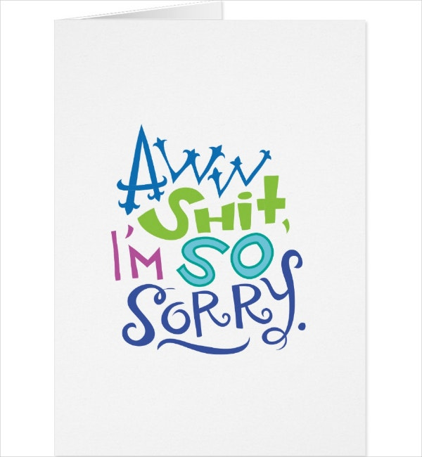 typography im sorry card template