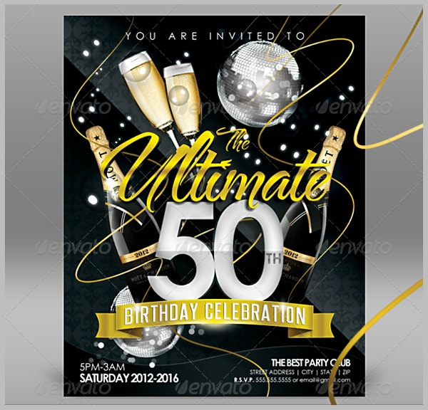 Ultimate Fifty Golden Birthday Flyer Template