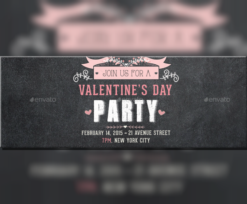 Valentines Party Announcement Facebook Banner