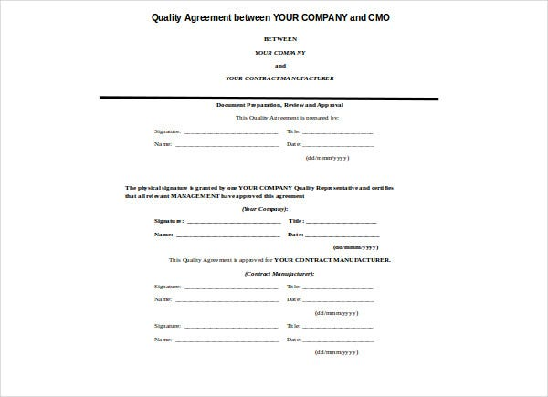 view quality agreement template