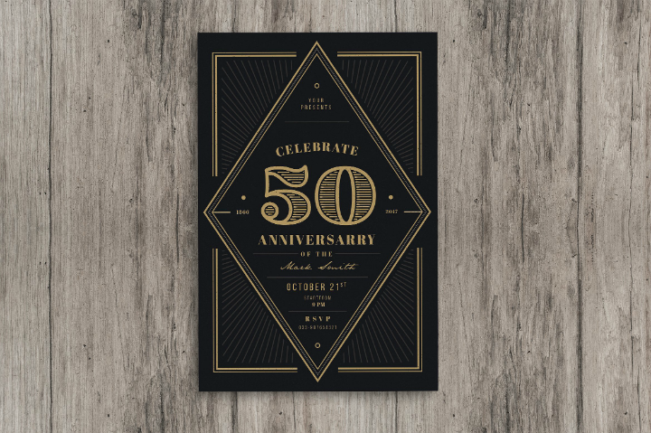 vintage 50th wedding anniversary banquet invitation template