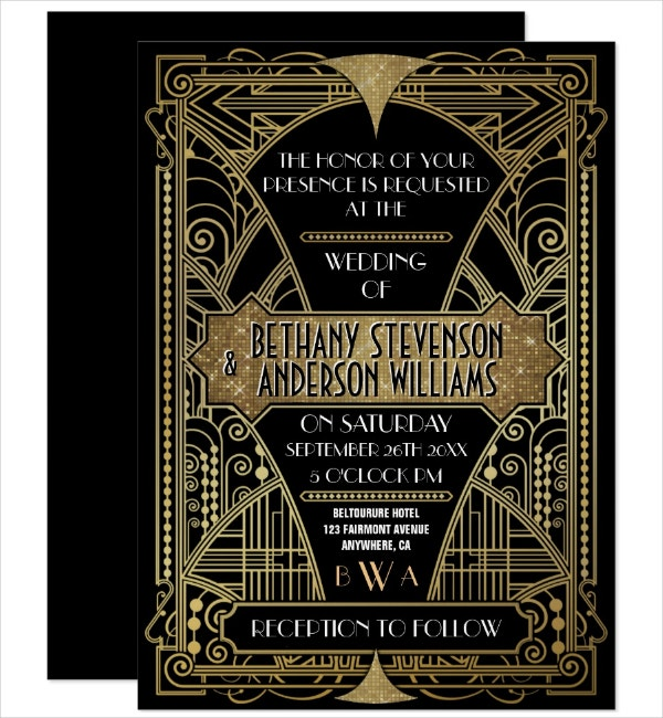 Vintage Art Deco Invitation Template