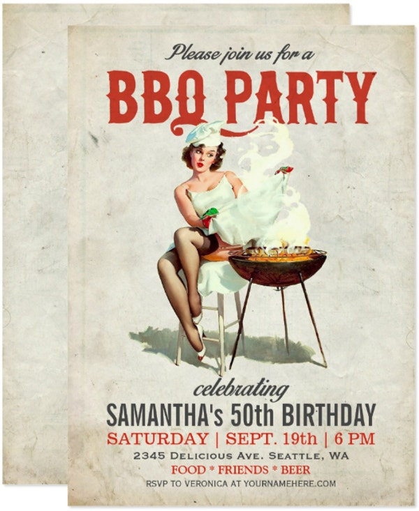 vintage bbq birthday invitation template
