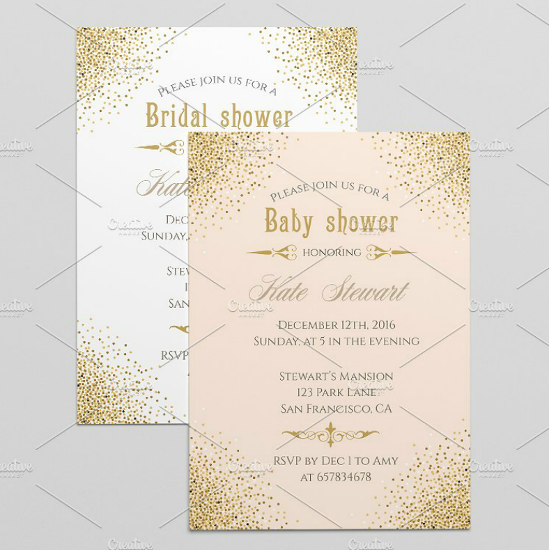 vintage bridal shower confetti invitation template 788x790