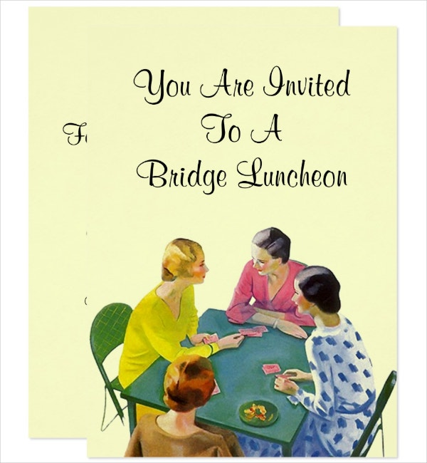 Vintage Bridge Luncheon Invitation Template