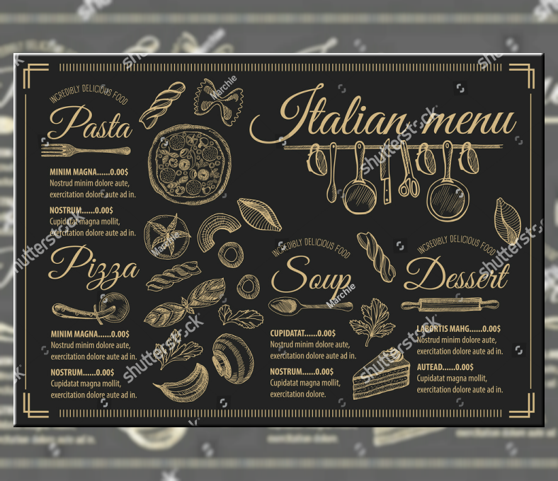 Vintage Hand Drawn Pasta Menu Template