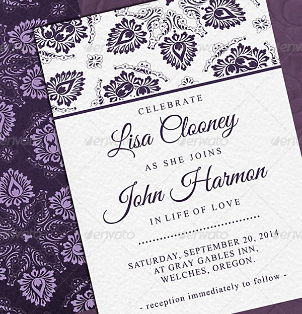 vintage leaves purple invitation template