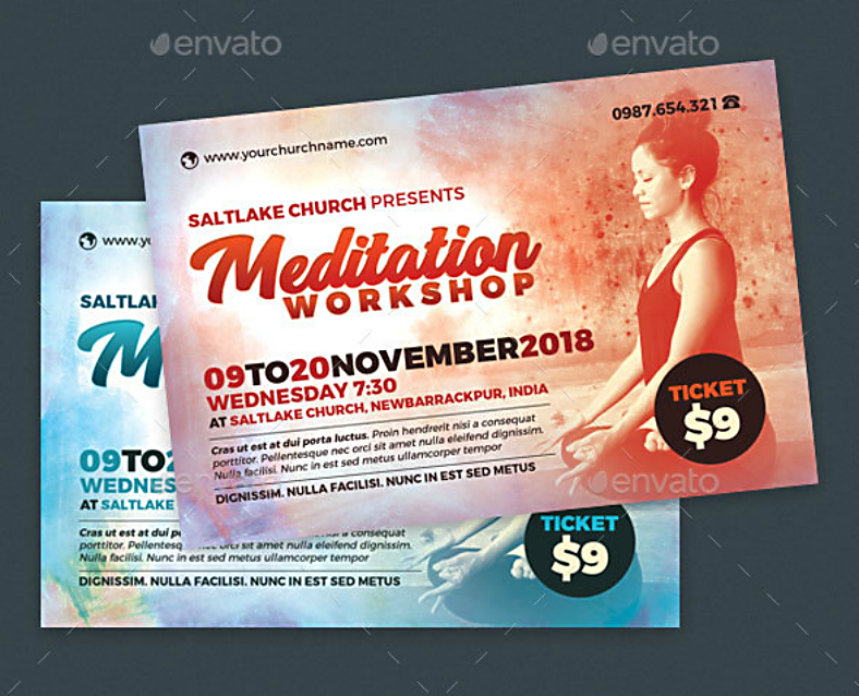 Vintage Meditation Workshop Flyer