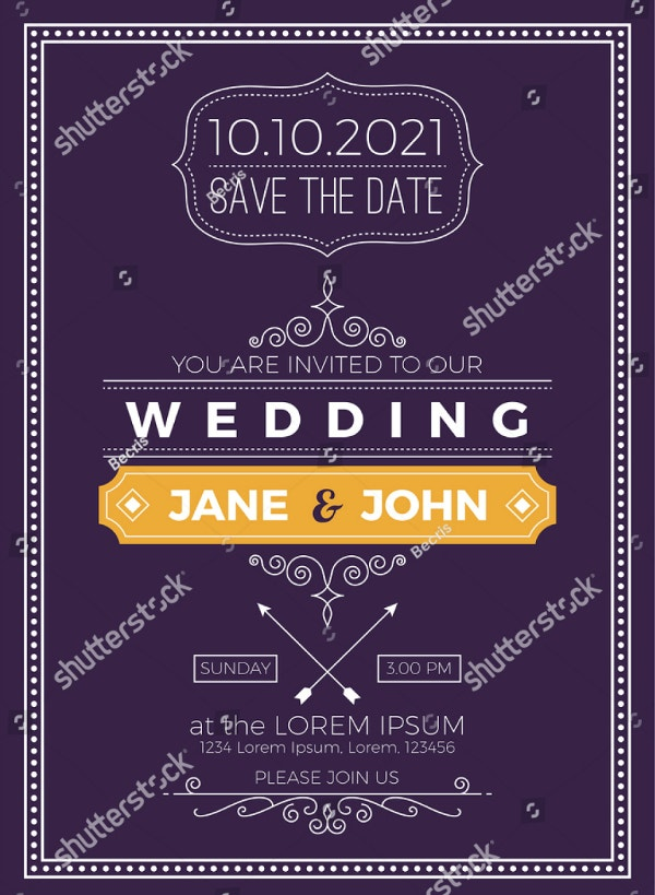 Vintage Minimalist Purple Wedding Invitation Template