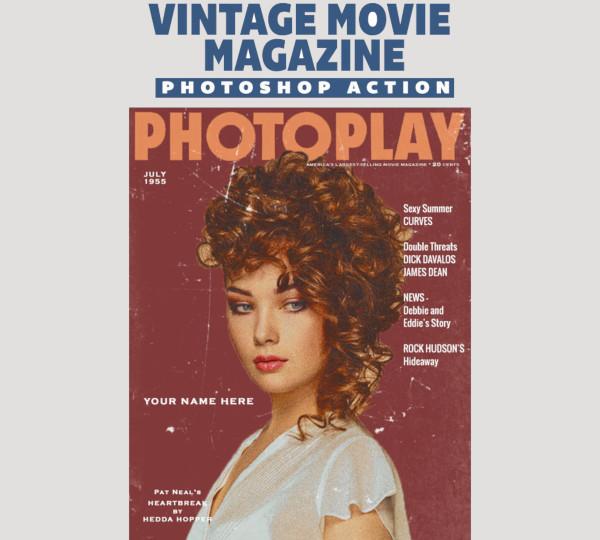 vintage movie magazine photoshop book cover design