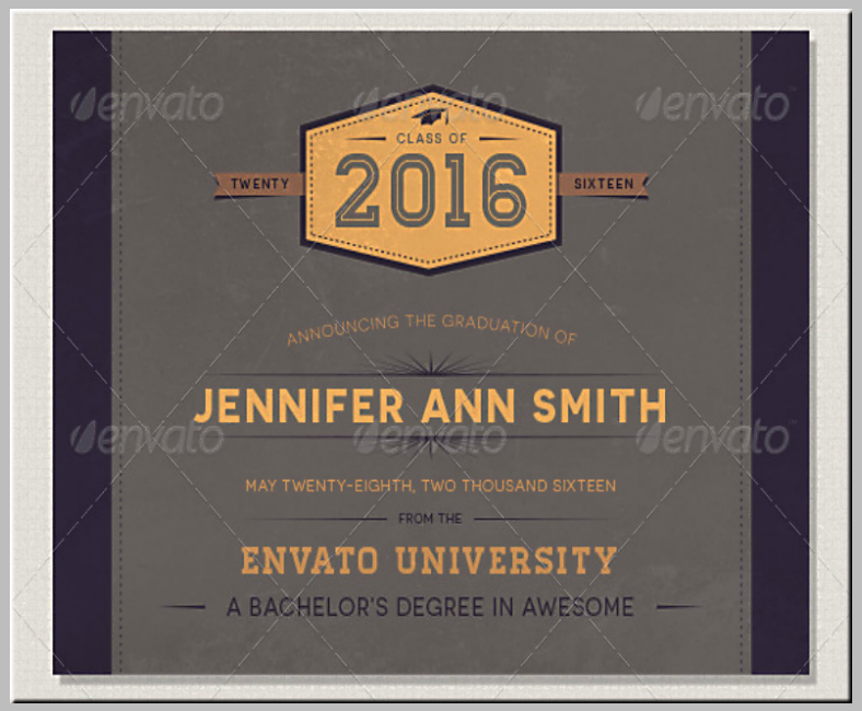 vintage theme graduation announcement template 788x650