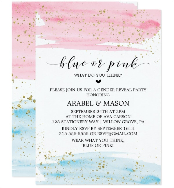 watercolor gender reveal announcement template