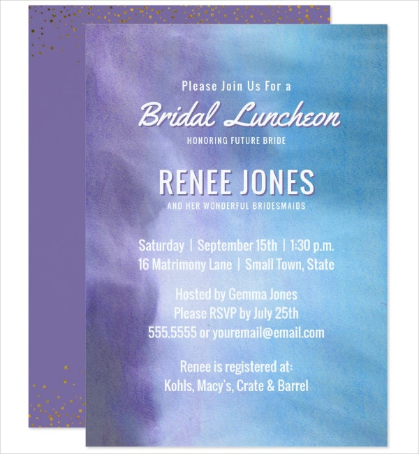 Watercolor Luncheon Invitation Template