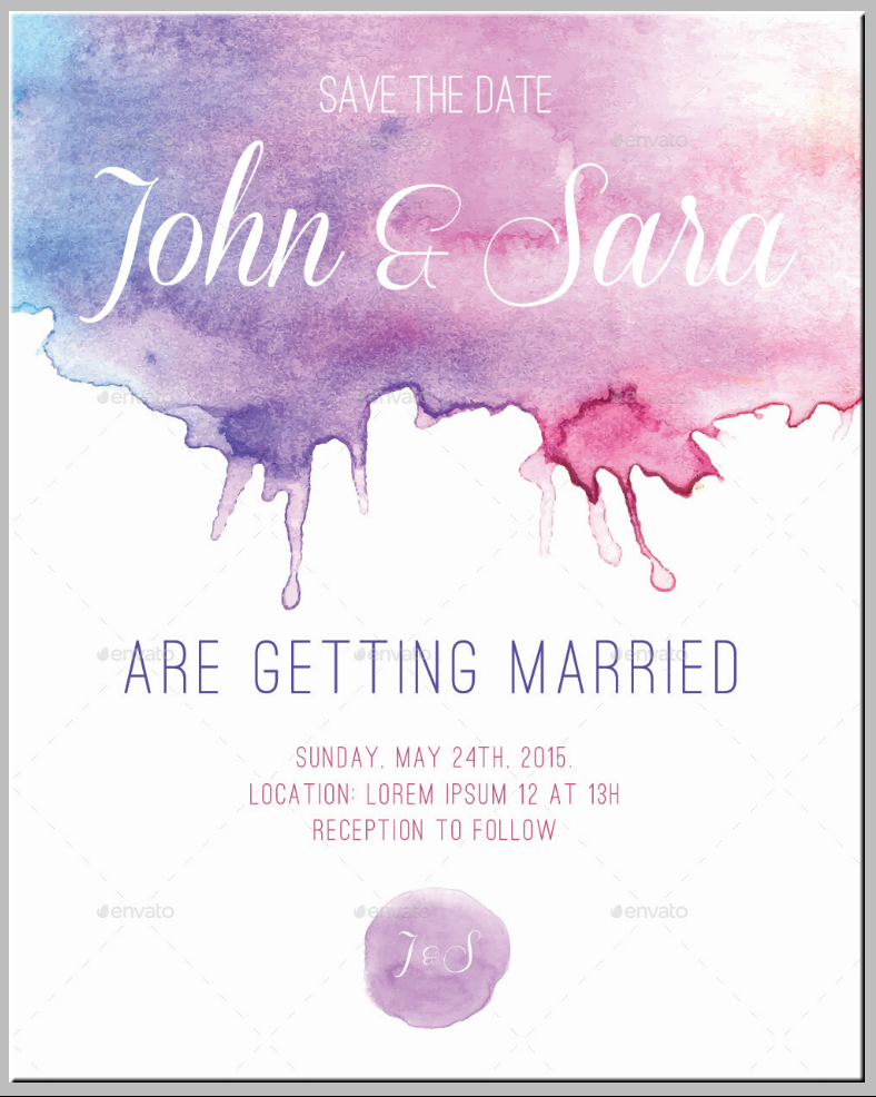 Watercolor Stain Wedding Announcement Template