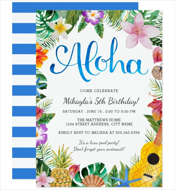 Watercolor Tropical Invitation Template