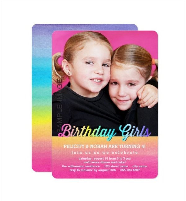Watercolor Twins Birthday Party Invitation