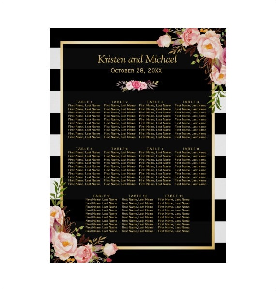Wedding Seating Chart Gold Vintage Floral