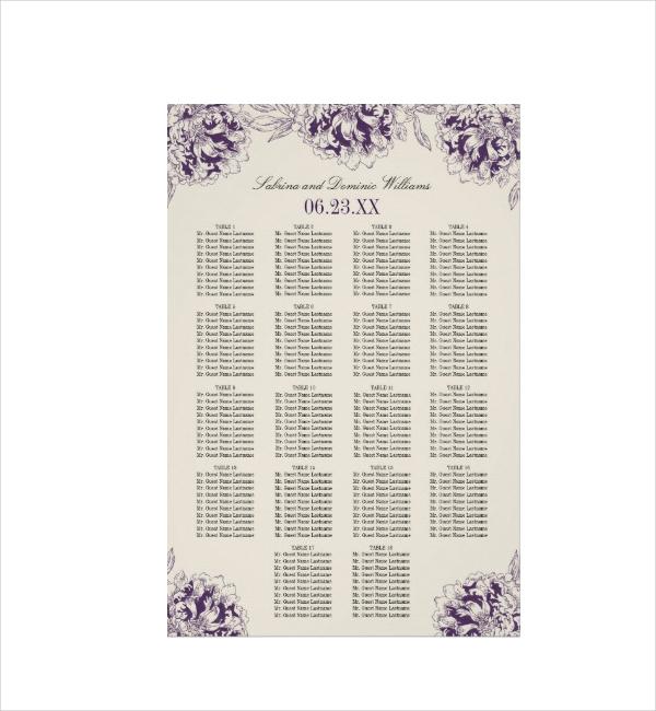 Wedding Seating Chart Poster Design