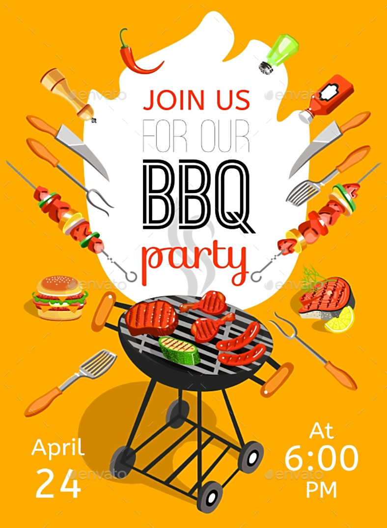 Yellow BBQ Party Announcement Poster