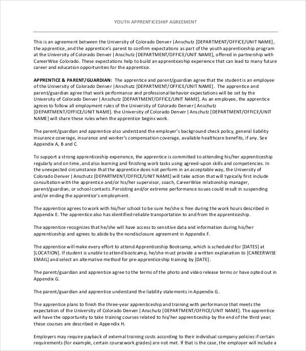 youth apprenticeship agreement
