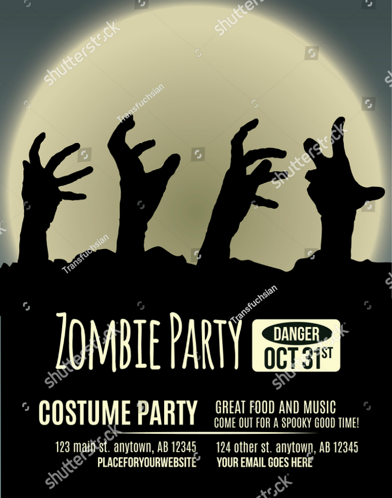 zombia hands costume party invitation template 788x1000