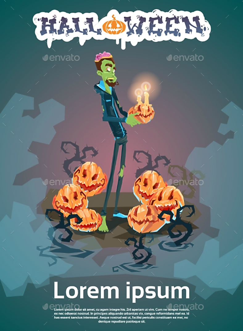 zombie monster halloween invitation template 788x1075